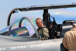 Bulgarian major prepares for his flight with Textron Scorpion