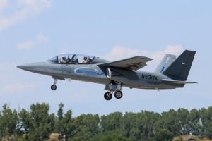 Textron Scorpion take off with Bulgarian pilot