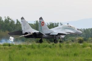 Спирачният парашут на МиГ-29 е спуснат